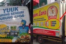 11 Slogan lucu di mobil angkutan barang ini bikin tepuk jidat