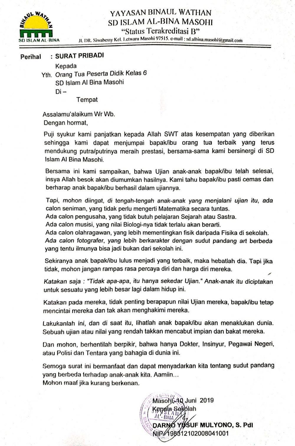 Kisah Sd Di Maluku Kirim Surat Soal Kelulusan Ke Ortu Siswa Meny
