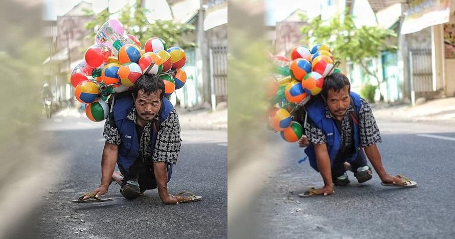 Pak Setu, penjual balon merangkak yang kisahnya bikin terharu