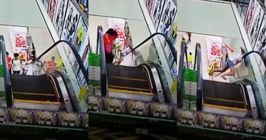 Melihat ke bawah saat naik eskalator, leher cewek ini nyaris patah