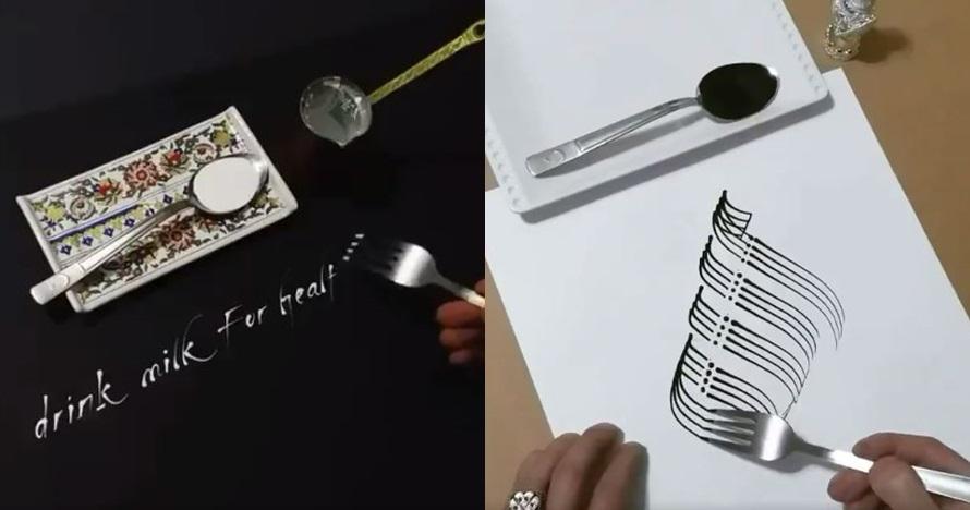 8 Karya kaligrafi pakai garpu ini hasilnya patut diacungi jempol