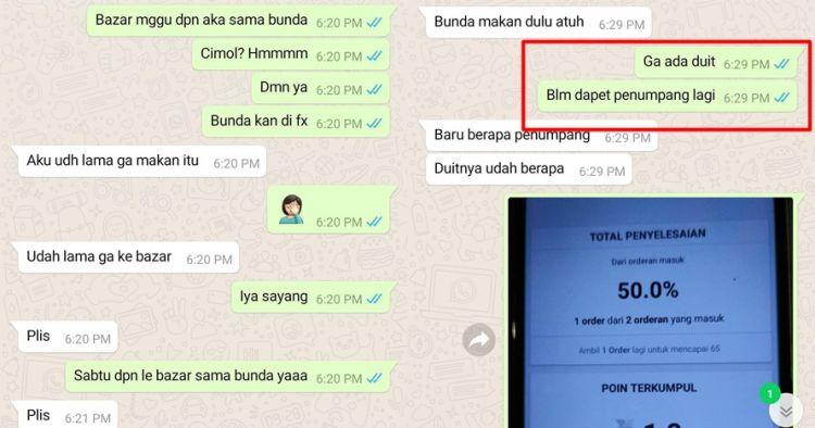 Chat driver ojek online sama anaknya ini haru, curhat sepi order