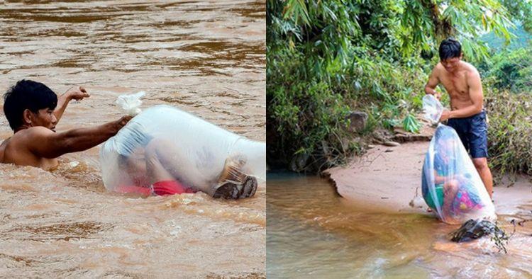 Aksi pria bantu anak-anak seberangi sungai saat ke sekolah ini unik