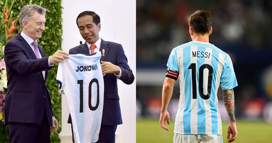 Momen Jokowi dapat jersey 'Lionel Messi' dari Presiden Argentina