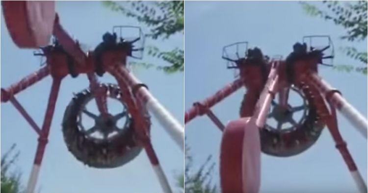 Detik-detik wahana permainan patah di udara, mengerikan