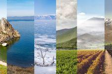 8 Foto kolase ini gambarkan perbedaan tempat dari musim ke musim