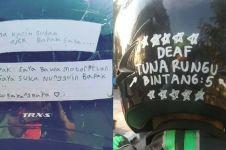 8 Tulisan di helm driver ojek online ini penuh makna, bikin haru
