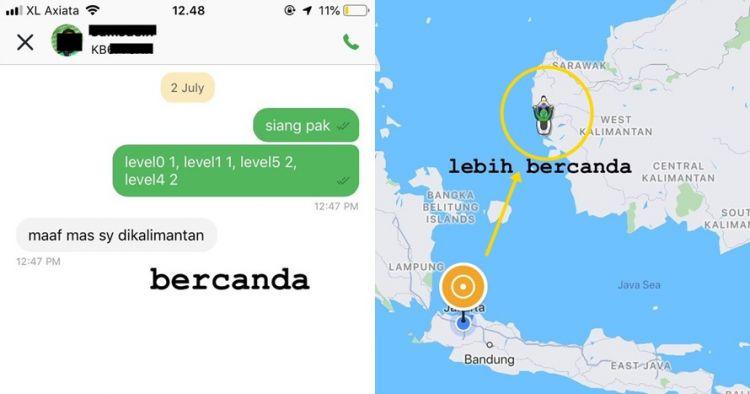Orang ini order ojek online di Jakarta, dapat driver di Kalimantan