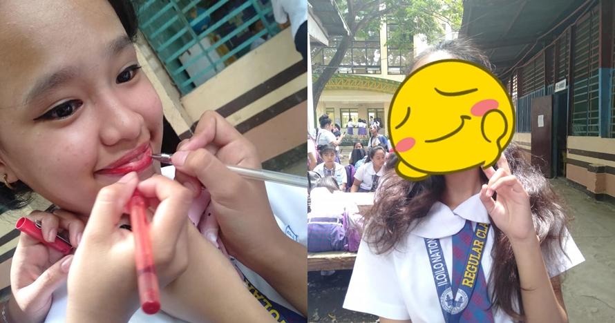 Modal stabilo & pulpen, hasil riasan wajah gadis ini bikin melongo