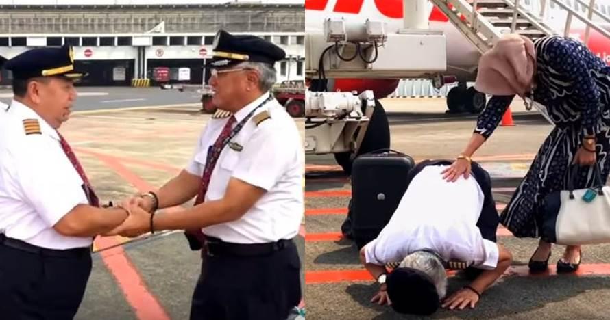 Viral video penerbangan terakhir pilot senior ini bikin mewek