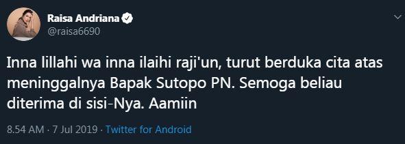 ungkapan duka untuk Sutopo © 2019 Istimewa