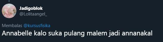 pelesetan nama Annabelle © 2019 Twitter