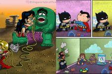 10 Ilustrasi kelakuan tokoh superhero saat masih kecil, kocak