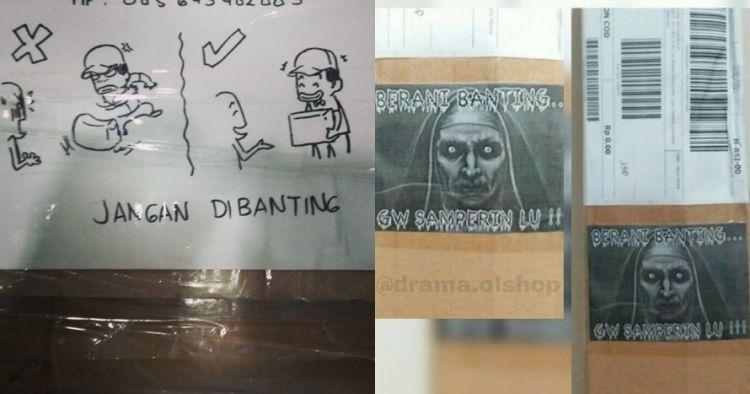 10 Gambar lucu peringatan di kotak paket ini bikin kurir terhibur