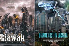 7 Editan poster 'biawak manjat pagar', ganasnya bak Godzilla
