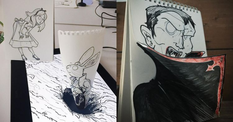 10 Karya 3D cuma dari kertas notebook ini hasilnya keren
