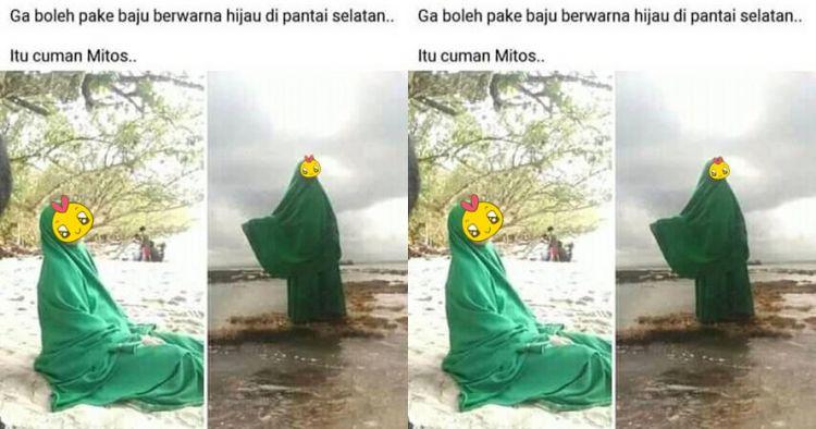 Viral emak-emak pakai baju hijau di Pantai Selatan