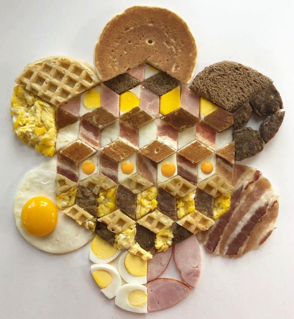 karya seni geometri makanan instagram