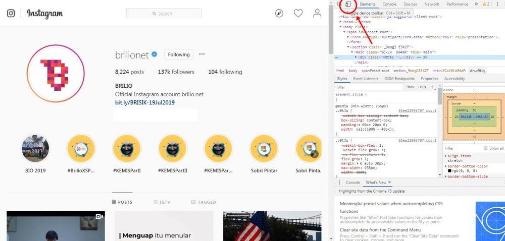 cara upload foto instagram dari pc © 2019 brilio.net