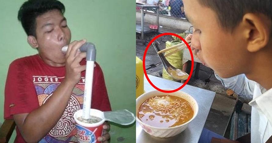 10 Aksi nyeleneh orang saat makan mi ini bikin tepuk jidat