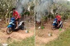 Viral remaja jadikan kuburan sebagai arena 'motocross', duh