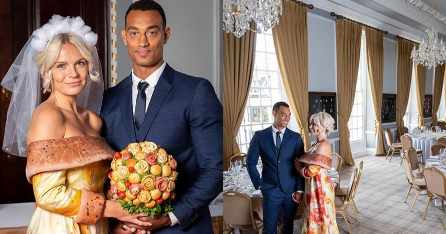 Pengantin ini menikah kenakan gaun pizza, unik banget