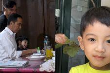 Jokowi makan ayam goreng bareng cucu, aksi Jan Ethes jadi sorotan