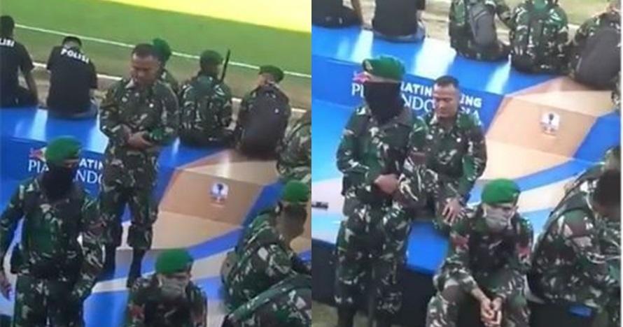 Momen anggota TNI salat saat suporter bola ricuh ini bikin kagum