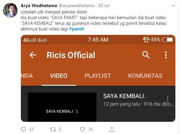 #pamit dari YouTube ria ricis  © 2019 brilio.net