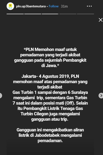 PLN ungkap penyebab mati listrik di Jakarta dan sekitarnya © 2019 brilio.net