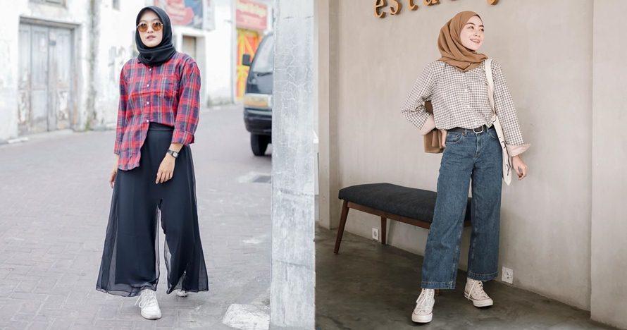 18 Inspirasi hijab dengan kemeja kotak-kotak, keren & kekinian