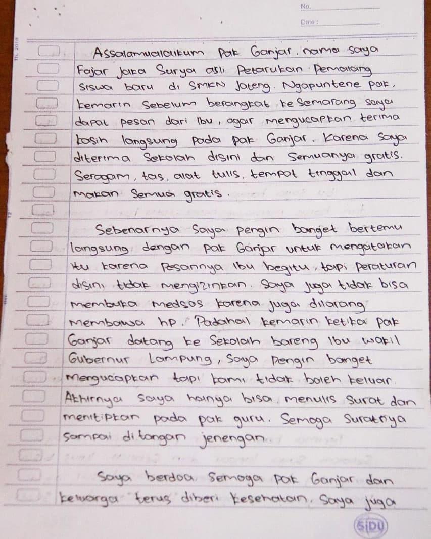 Ganjar Pranowo dapat surat dari siswa SMK  © 2019 brilio.net