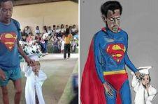 Pakai kaus Superman di wisuda anaknya, kisah ayah ini bikin haru