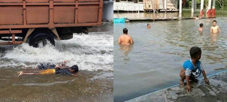 10 Kelakuan nyeleneh orang lagi kebanjiran ini bikin geleng kepala