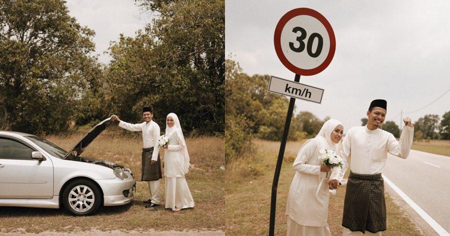 Mobil mogok di tepi jalan, foto pasangan pengantin ini keren