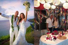 9 Momen mesra The Rock & Lauren Hashian, nikah usai 12 tahun pacaran