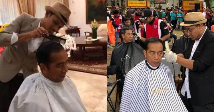 Momen 3 Presiden Indonesia saat cukur rambut, curi perhatian