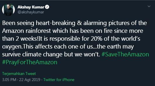 seleb kebakaran hutan amazon © 2019 Istimewa