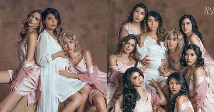 7 Potret maternity Irene & Girl Squad, pakai dengan baju tidur