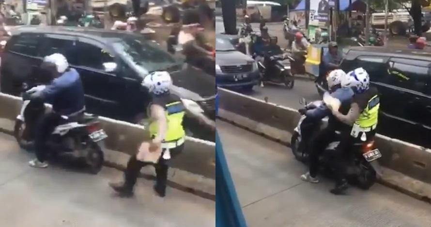 viral polisi ditilang pemotor dipuji prabowo © Twitter