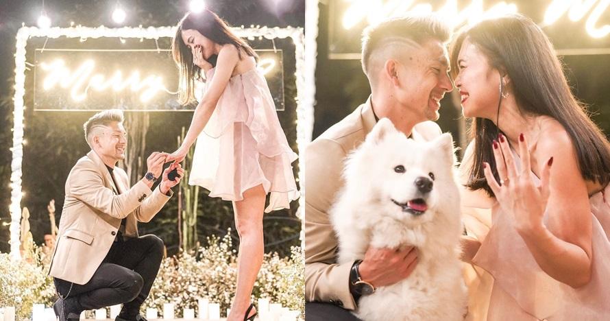 7 Momen lamaran pesepak bola Kim Kurniawan dan pacar, romantis
