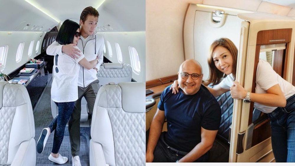 beda gaya Syahrini dan Maia di pesawat jet instagram