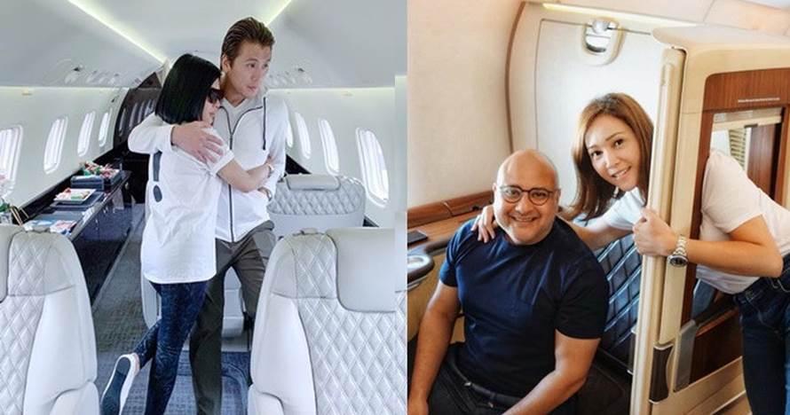 5 Beda gaya Syahrini dan Maia Estianty saat naik jet pribadi