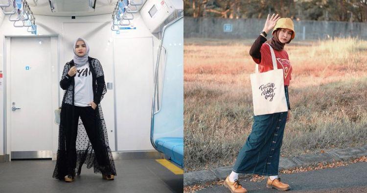 12 Inspirasi padu padan kaus lengan pendek untuk hijabers, keren