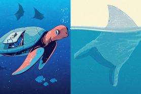 8 Ilustrasi ini sindir kebiasaan buang sampah di laut, bikin miris