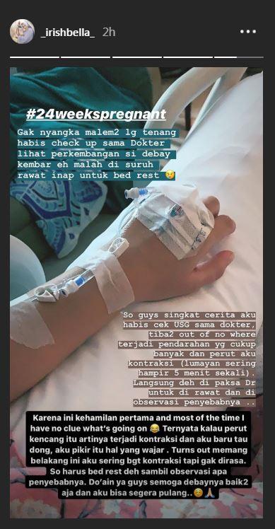 Irish Bella di rumah sakit  Instagram/@_irishbella_