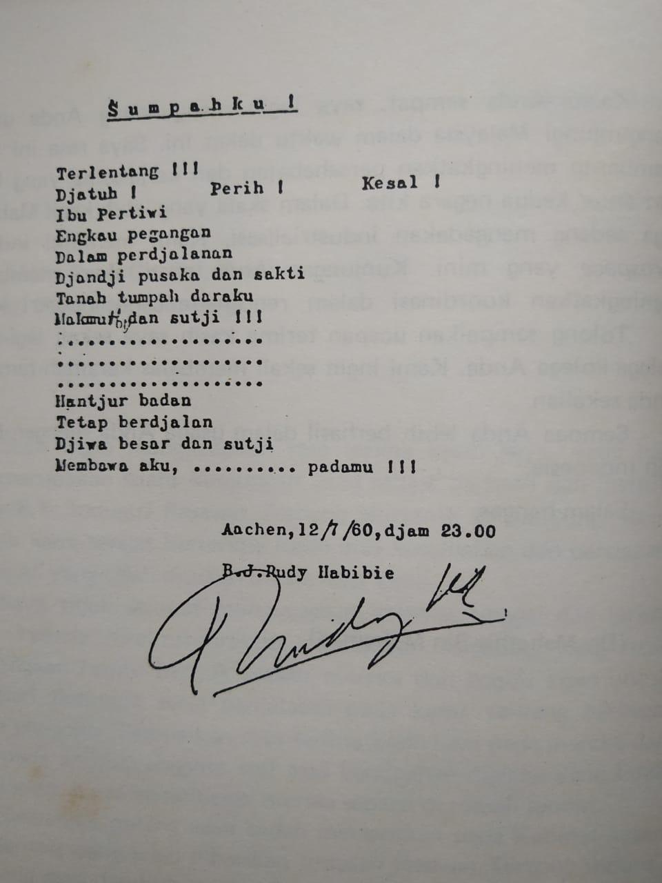 Kisah di balik sajak Habibie dibikin 1960 di Jerman istimewa