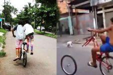 7 Kelakuan lucu anak kecil saat main sepeda ini gereget abis