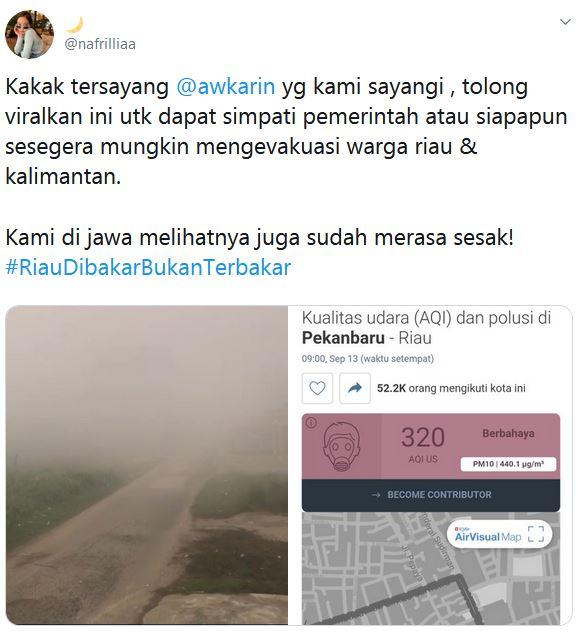 kota riau kabut asap © 2019 Istimewa