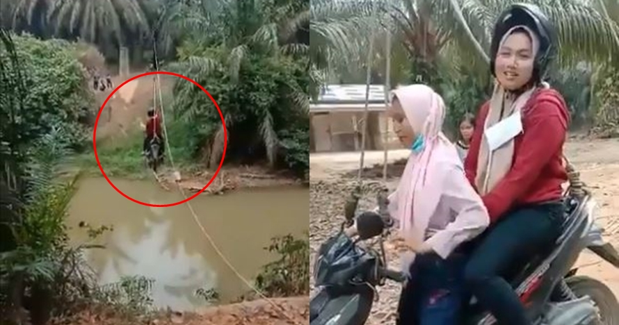 Viral, naik motor menyeberang sungai pakai tali ini bak flying fox